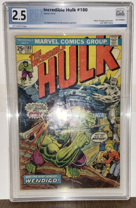 The Incredible Hulk #180 - 1st App. Wolverine PGX 2.5 Marvel Value Stamp Intact