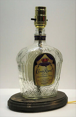 CROWN ROYAL WHISKEY Liquor Bottle TABLE LAMP LIGHT w/ Wood Base Bar Lounge Decor