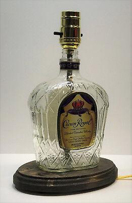 CROWN ROYAL WHISKEY Liquor Bottle TABLE LAMP LIGHT w/ Wood Base Bar Lounge Decor