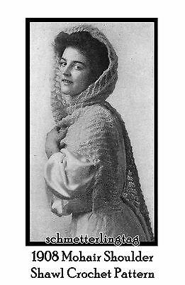 1908 Vintage Mohair Shawl Knit Fascinator Pattern Lacy Feminine Diy Knit Crochet