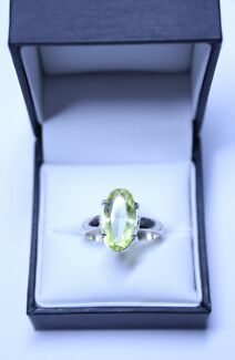 European Lab Created Yellow Sapphire in  Silver (925) Ring