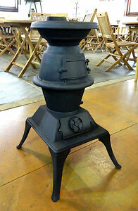 Small Pot Belly Solid Cast Iron Outdoor Stove Heater Black In Vic Ebay