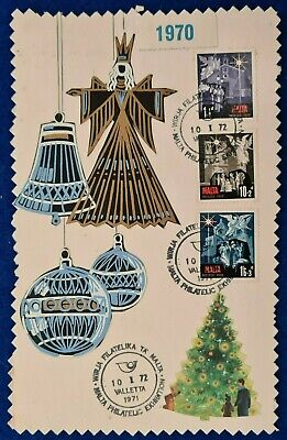1972/1970 MALTA CHRISTMAS SET + MALTA PHILATELIC EXHIBITION SHC ON EXHIBIT CARD