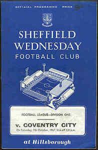 Football Programme - Sheffield Wednesday v Coventry City - Div 1 - 1967