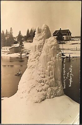 Real Photo Postcard RPPC ~ Eagle River WI ~ Iceberg Ice Formation On River 1911, used for sale  Nokesville