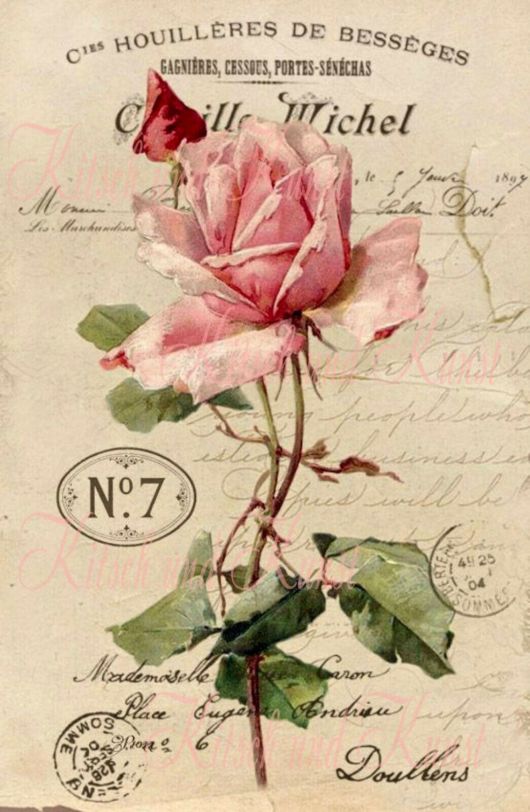 vintage Rose french Abziehbild Decalfolie Laser shabby chic Möbeltattoo A 4