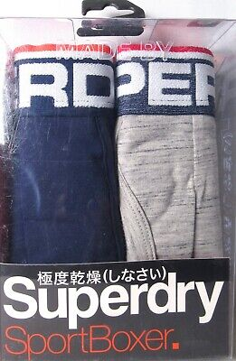 (2 Pairs) SUPERDRY Men's Tipped Sport Boxer Richest Navy Gray (Size Small) >NEW<