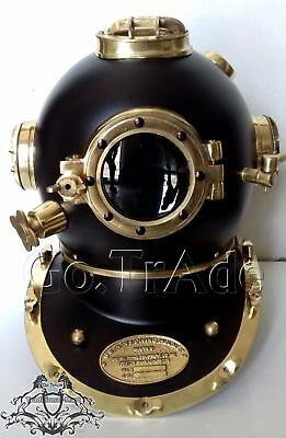 Vintage U.S Navy Mark V Diving Divers Helmet Solid Steel Black And Brass Finish