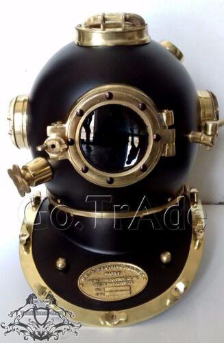 Vintage U.S Navy Mark V Diving Divers Helmet Solid Steel Black And Brass Finish