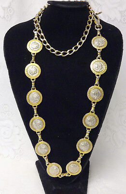 Vtg Runway Iconic GIANNI VERSACE Gold Tone Medusa Medallion Chain Belt Necklace