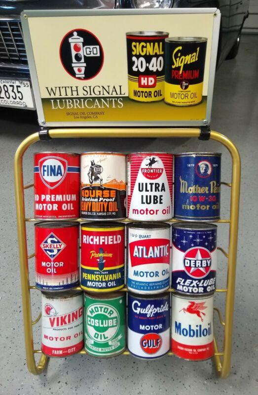 Vintage Style 12 Quart Oil Can Display Rack Signal, Sinclair Tydol Veedol