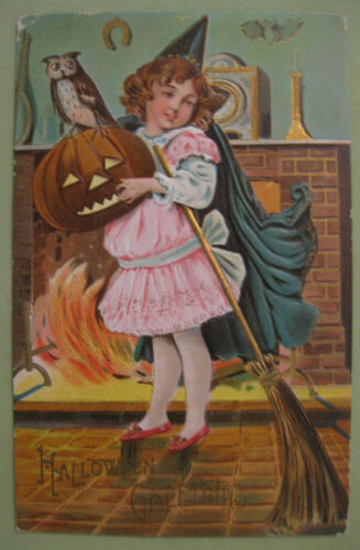 1909 Antique Halloween Girl Witch Greetings Post Card-- Over 110 Years Old
