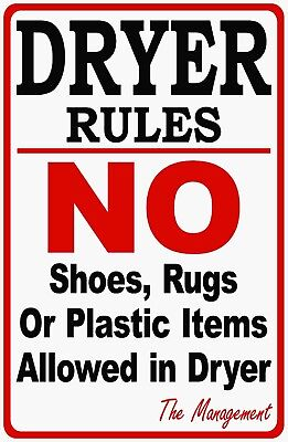 Dryer Rules Laundromat Sign. Size Options. Laundry Dryers Instructions Signs