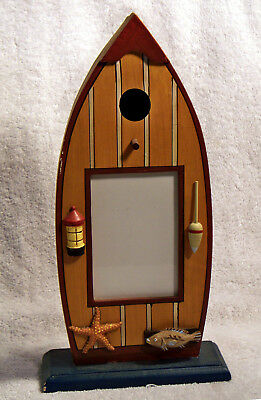 Wood Row Boat 5 x 3.5 Picture/Photo Frame Decorated With Nautical Items