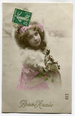 CPA - Carte Postale - Fantaisie - Enfants - Bonne Année - Jeune Fille - 1911