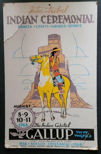 !968 Inter-Tribal INDIAN CEREMONIAL Poster Gallup New Mexico Navajo Centennial