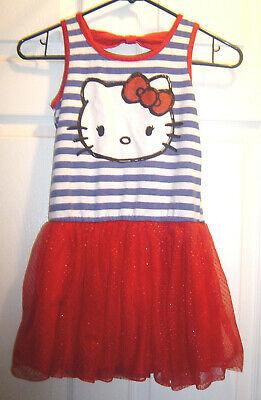 Red White Blue Tutu (Hello Kitty Girls Dress 7 8 Tutu Drop Waist Red White Blue Glitter Striped)
