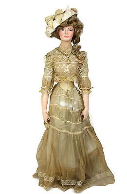 "Vintage Artist Doll Lewis Sorensen Wax Gibson Girl Edwardian Dress 30"" Tall"