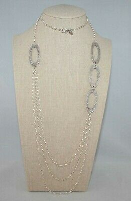 Silpada Sterling Silver Tiered ThreeStrand Hammered Oval Drop Necklace N1720  Hammered Oval Necklace