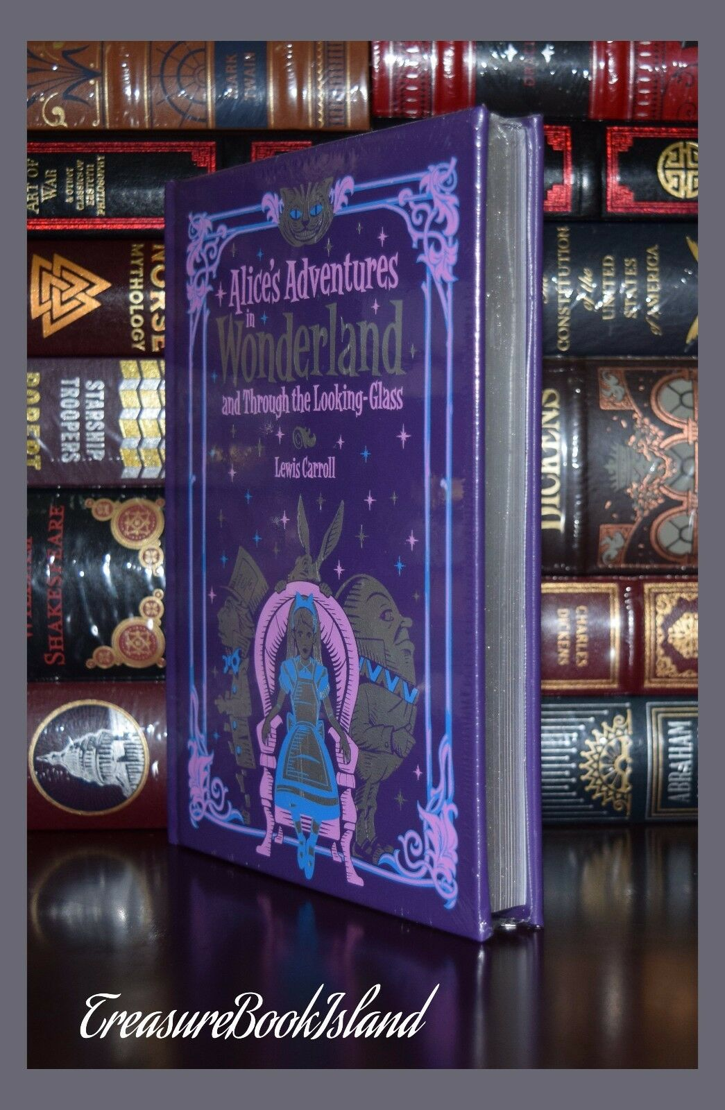 Alice in Wonderland & Through Looking Glass Illustrated New Sealed Leather Bound