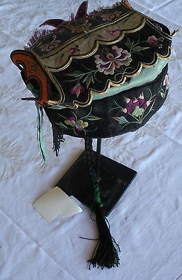 Antique Chinese ceremonial pigtail hat covered with colorful silk embroidery - Chinese Hat With Pigtail