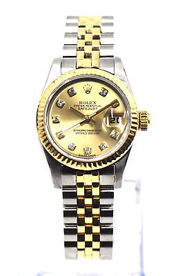 LADIES ROLEX DATEJUST WRISTWATCH 179173 DIAMOND DIAL 18K GOLD & STAINLESS PAPERS