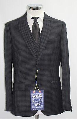 Men's Barrow Boy's, Navy micro check 3pc suit (40R).. sample 3097  (Boys Navy Anzüge)