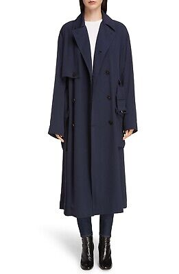 NEW Acne Studios Olicia Fluid Twill Trench Coat - Midnight Navy Blue - 34 / 4US