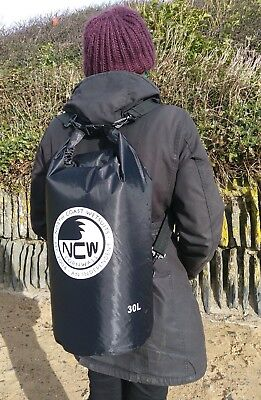 30L roll top dry bag 100% waterproof lightweight TOUGH RIPSTOP nylon (in black)