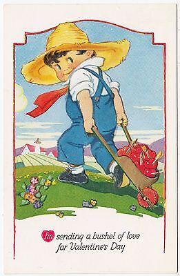 A BUSHEL OF LOVE FOR VALENTINE'S DAY - Embossed - #416 - c1920s era postcard