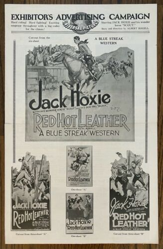 *RED HOT LEATHER (1928) Silent Film Western Pressbook Jack Hoxie & Ena Gregory