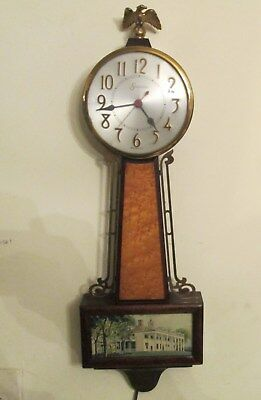 Sessions Banjo Electric clock Pat.1936, Mount Vernon Picture All Original 22 in