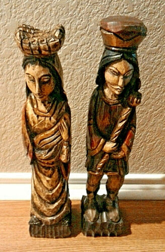 "Wooden Carved King Queen Sculptures Statues Man Woman 18.5"" tall"