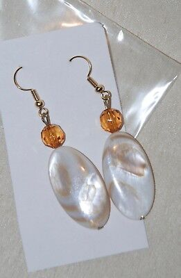 - Oval Ivory MOP Shell Gold Bead Dangle Pierced Earrings NWOT 2.5