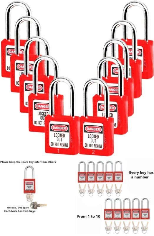 Lockout Tagout Locks, Safety Padlock , Loto Locks Keyed Differently Lock Out Tag