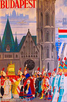 Hungary Hungarian Budapest European Europe Vintage Travel Advertisement Poster