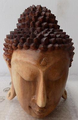 Head of Buddha solid wood suar 18x25 shiva ethnic Buddha Ganesh divinity