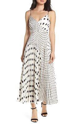 Jill Jill Stuart Mixed Polka Dot Print Sleeveless Satin Charmeuse Dress Size 12