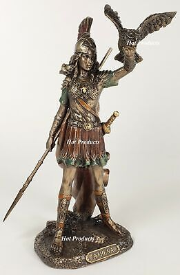 "8"" ATHENA Goddess of War W Spear Raising Owl Greek Mythology Statue Bronze Color"
