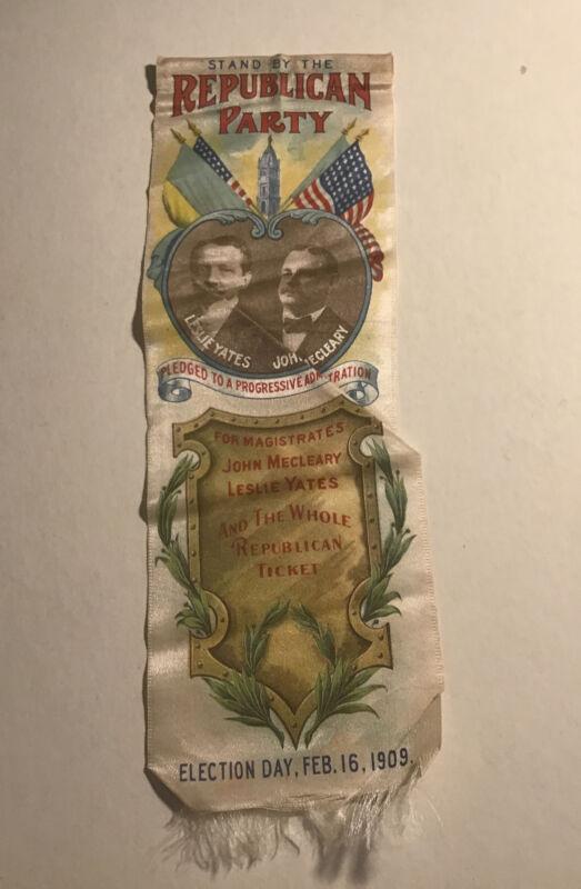 1909 Republican Party Campaign Ribbon Leslie Yates John McCleary Philadelphia PA