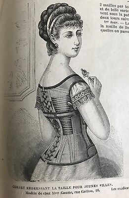 MODE ILLUSTREE SEWING PATTERN  Sept 22,1878-  CORSET POUR REDRESSER LA TAILLE