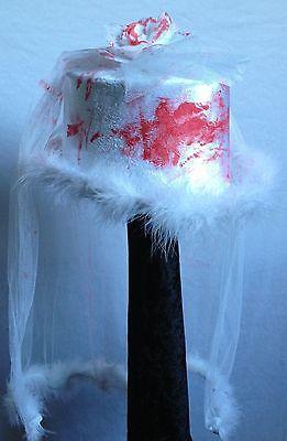 blutiger Zylinder für Zombie Kostüm Horror Braut Schleier Halloween