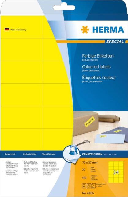 HERMA 4466 Etiketten gelb 70x37 mm Papier matt 480 St.