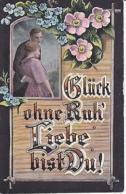 AK Spruchkarte Künstlerkarte Glück ohne Ruh´ Blumen ca. 1910