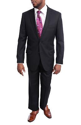 Men's Arthur Black Classic Fit Solid Black Herringbone Two Button Wool Suit (Wool Herringbone Two Button)
