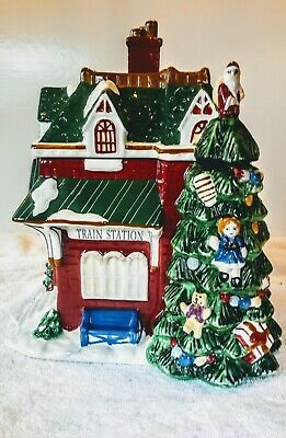 RARE COLLECTIBLE Vintage Spode Christmas Tree Village Train Station Cookie Jar