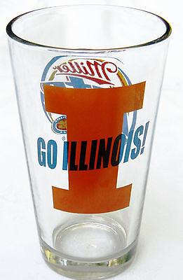 (University of Illinois  Miller Lite 16 oz Pint Beer Glass-GO FIGHTING ILLINI!!!!)
