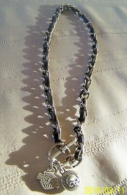 Pewtertone Nail Cross Necklace for Bikers Harley Davidson Owners