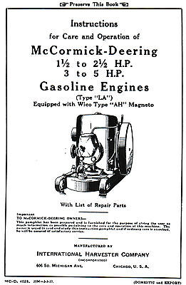 International Ih La Gas Engine Motor 1.5-2.5 3-5 Hp Wico Ah Mag Book Manual Lb