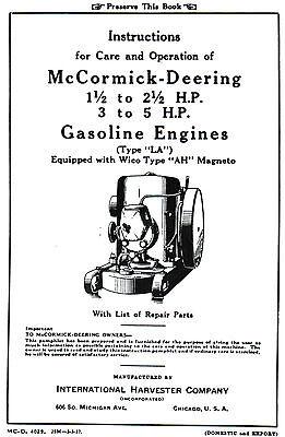 International IH LA Gas Engine Motor 1.5-2.5 & 3-5 hp Wico AH Mag Book Manual LB